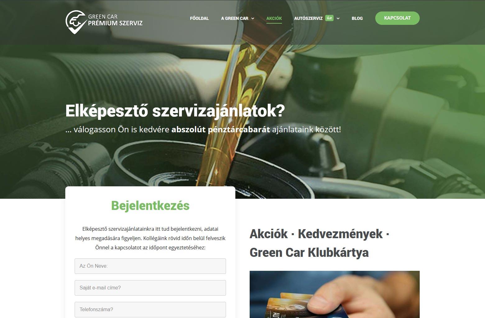 Green Car Prémium Szerviz Weboldal